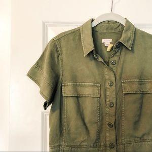 J. Crew Army Green Utility Shirtdress